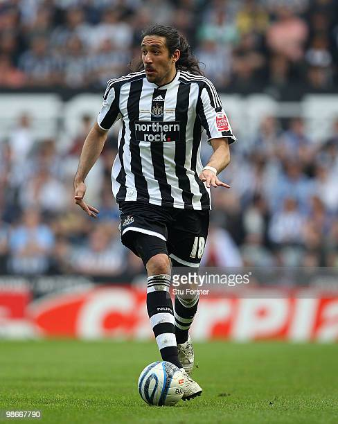 Newcastle winger Jonas Gutierrez in action during the Coca Cola Championship match between Newcastle United and Ipswich Town at St James Park on...