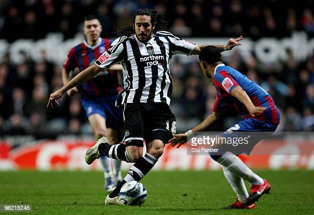 Newcastle winger Jonas Gutierrez in action during the CocaCola Championship game between Newcastle United and Crystal Palace at St James' Park on...