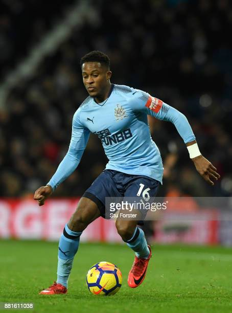 Newcastle winger Rolando Aarons in action during the Premier League match between West Bromwich Albion and Newcastle United at The Hawthorns on...
