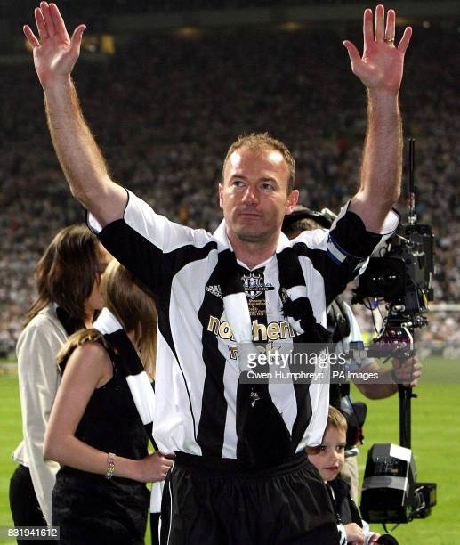 Newcastle XI's Alan Shearer waves to the fans after his Testimonial match against Celtic at St James' Park Newcastle
