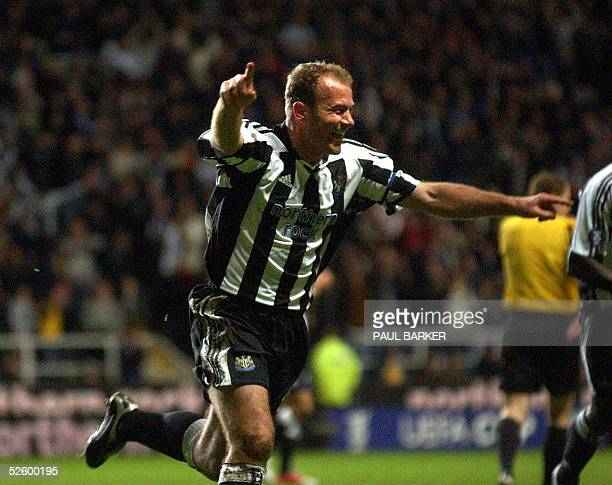 Newcastle's Alan Shearer celebrates after scoring to make it 10 against Sporting during UEFA Cup clash at St James' Park Newcastle United Kingdom 07...