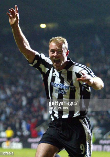 Newcastle's Alan Shearer celebrates scoring against Mallorca during their UEFA Cup fourth round first leg football match at St James Park in...