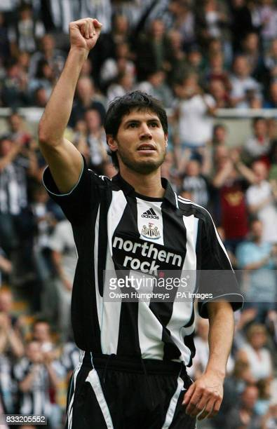 Newcastle's Albert Luque celebrates after scoring from the penalty spot during the Friendly match at St James' Park Newcastle