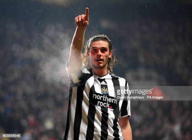 Newcastle's Andrew Carroll celebrates scoring his second and his sides third goal during the CocaCola Football League championship match at St James...