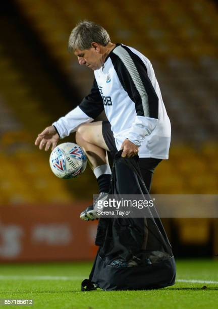 Newcastle's Football Development Manager Peter Beardsley controls the ball during the EFL Checkatrade Trophy match between Port Vale and Newcastle...