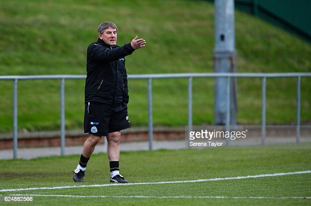 Newcastle's football development manager Peter Beardsley gestures from the sidelines during the Premier League 2 Match between Newcastle United and...