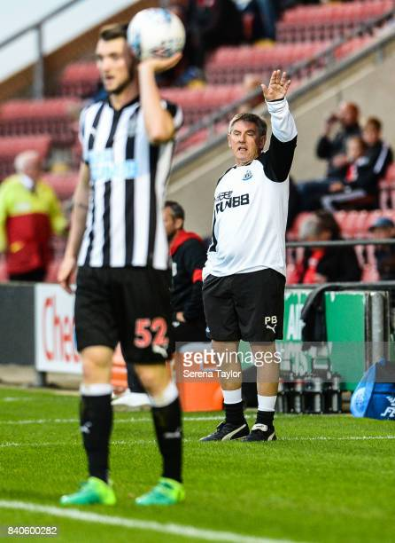 Newcastle's Football Development Manager Peter Beardsley gestures from the sidelines during the Checkatrade Trophy Match between Crewe Alexandra and...