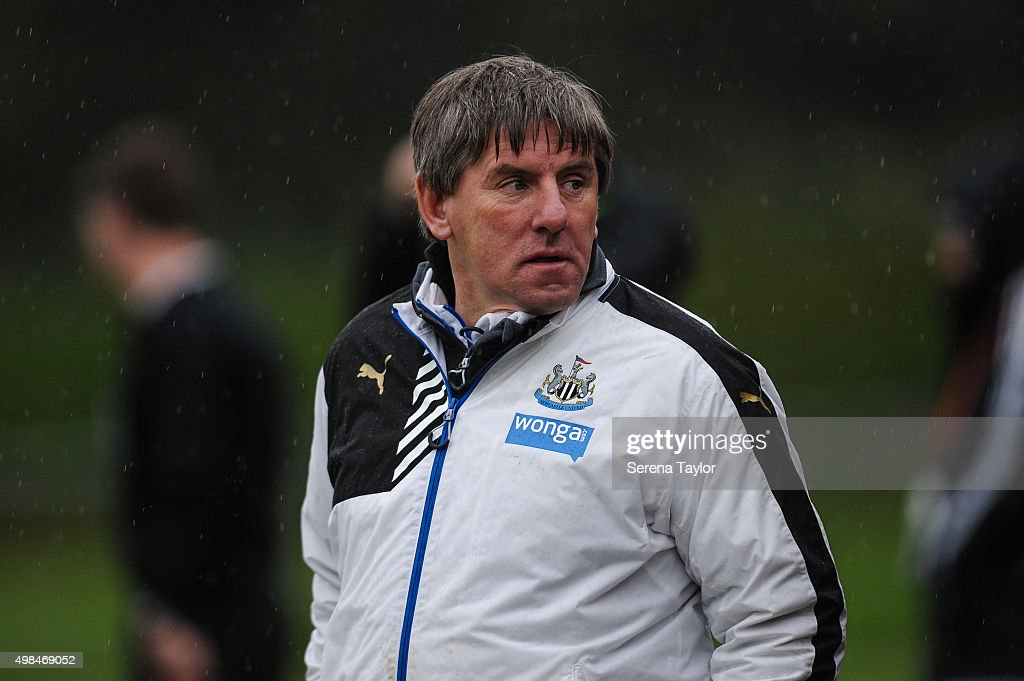Newcastle's Football development manager Peter Beardsley looks on from pitch side during the U21 Premier League Match between Newcastle United and West Bromwich Albion at Whitley Park on November 23, 2015, in Newcastle upon Tyne, England.