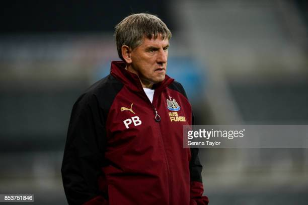 Newcastle's Football Development Manager Peter Beardsley looks on during the Premier League 2 match between Newcastle United and Wolverhampton...