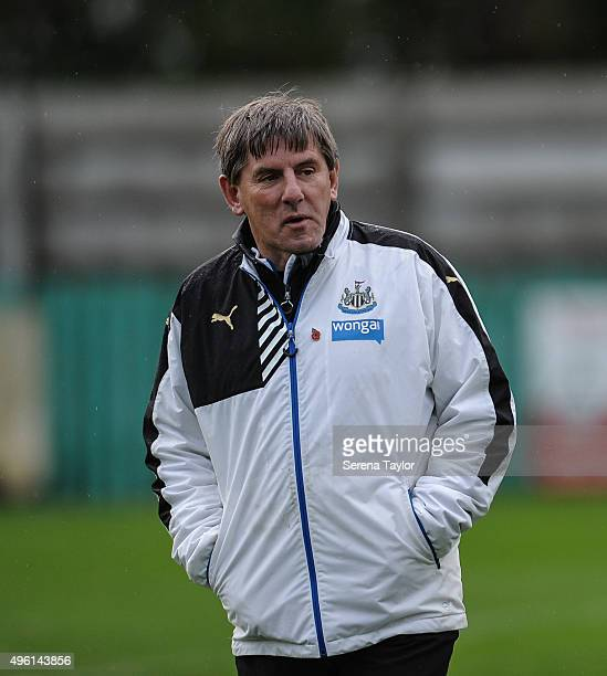 Newcastle's Football development manager Peter Beardsley stands on the pitch during the warm up of The Northumberland Senior Cup match between Blyth...