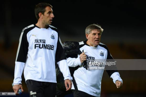 Newcastle's Football Development Manager Peter Beardsley walks off the pitch during the EFL Checkatrade Trophy match between Port Vale and Newcastle...