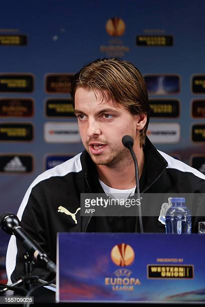 Newcastle's goalkeeper Tim Krul gives a press conference on November 7, 2012 in Bruges, the day before the Europa League group D football match...