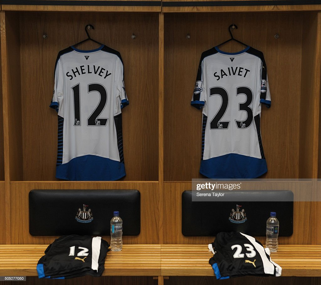 Newcastle's January signings Jonjo Shelvey and Henri Saivet's shirts hang in the dressing room in the build up to the Barclays Premier League match between Newcastle United and West Ham United at St.James' Park on January 16, 2016, in Newcastle upon Tyne, England.