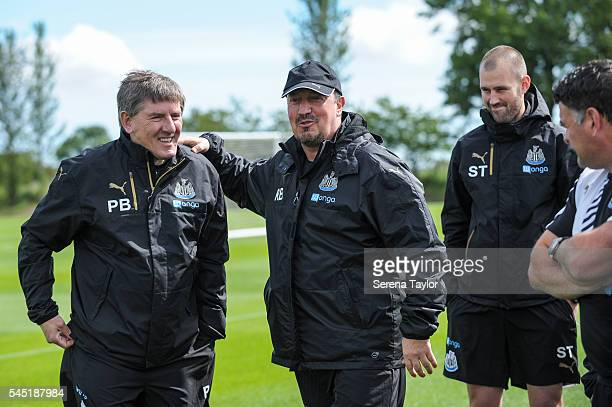 Newcastle's Manager Rafael Benitez meets Peter Beardsley U21's Football development manager during the Newcastle United Training session at The...