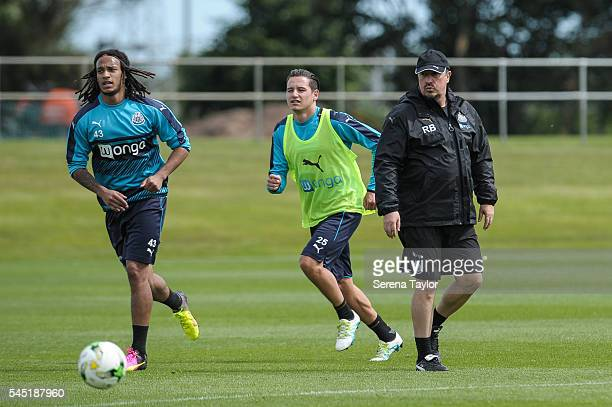Newcastle's Manager Rafael Benitez watches training during the Newcastle United Training session at The Newcastle United Training Centre on July 6 in...