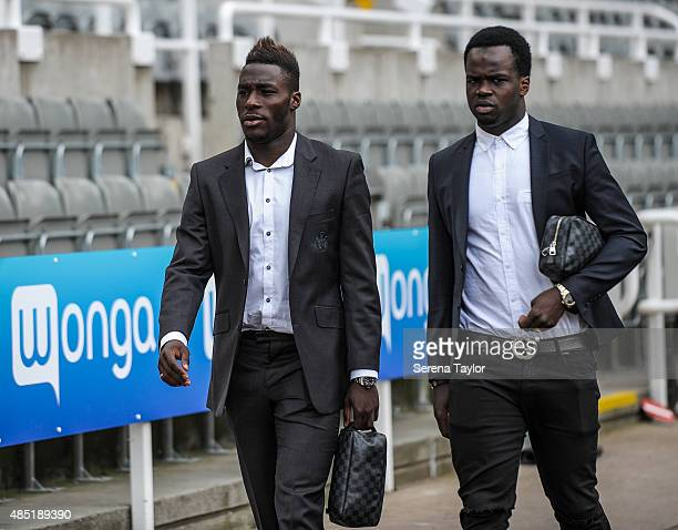 Newcastle's Massadio Haidara and Cheick Tiote arrives in the build up to The Capital One Cup second round match between Newcastle United and...