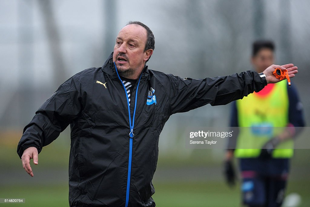 Newcastle's New Manager Rafael Benitez gestures during the Newcastle United Training session at The Newcastle United Training Centre on March 11, 2016, in Newcastle upon Tyne, England.