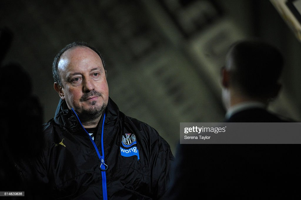 Newcastle's New Manager Rafael Benitez is interviewed during the Newcastle United Training session at The Newcastle United Training Centre on March 11, 2016, in Newcastle upon Tyne, England.