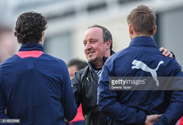 Newcastle's New Manager Rafael Benitez meets his new team during the Newcastle United Training session at The Newcastle United Training Centre on...