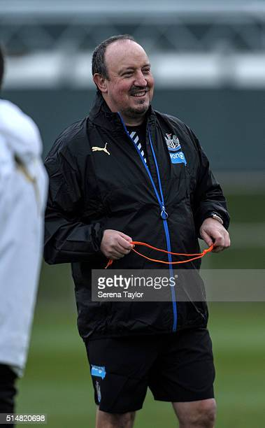 Newcastle's New Manager Rafael Benitez smiles during the Newcastle United Training session at The Newcastle United Training Centre on March 11 in...