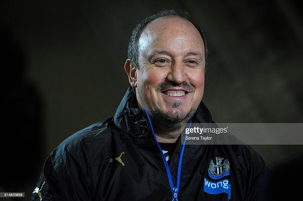 Newcastle's New Manager Rafael Benitez smiles whilst being interviewed during the Newcastle United Training session at The Newcastle United Training Centre on March 11, 2016, in Newcastle upon Tyne, England.