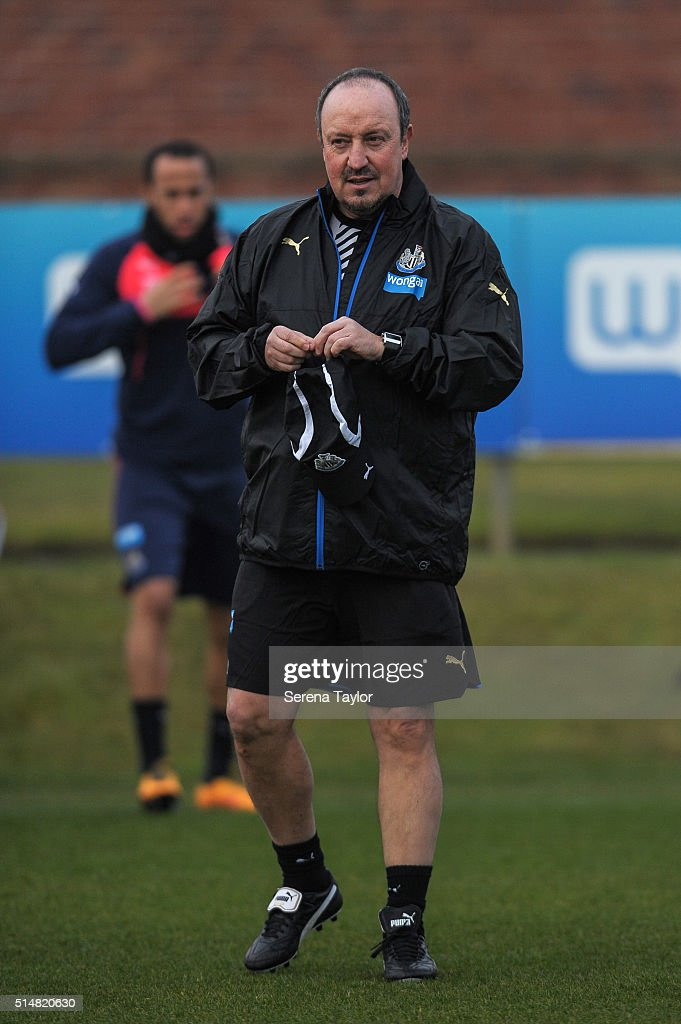 Newcastle's New Manager Rafael Benitez walks on the training pitch during the Newcastle United Training session at The Newcastle United Training Centre on March 11, 2016, in Newcastle upon Tyne, England.