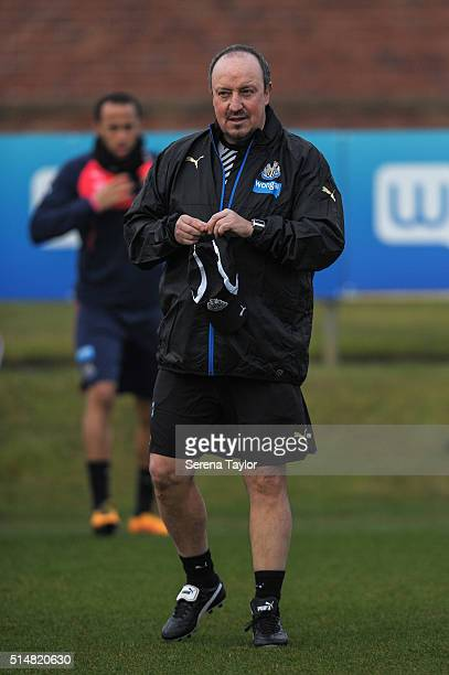 Newcastle's New Manager Rafael Benitez walks on the training pitch during the Newcastle United Training session at The Newcastle United Training...