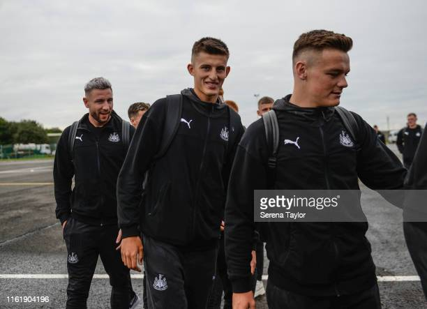 Newcastle's Owen Bailey Kelland Watts and Paul Dummett smiles as the team depart for the Pre Season Tour to China for the Premier League Asia Cup on...