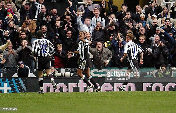 Newcastle's Patrick Kluivert celebrates after scoring the only goal during today's FA Cup clash against Chelsea at St James' Park Newcastle 20...