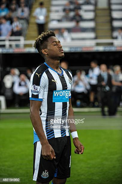Newcastles Rolando Aarons takes a moment on the pitch in the build up to The Capital One Cup second round match between Newcastle United and...