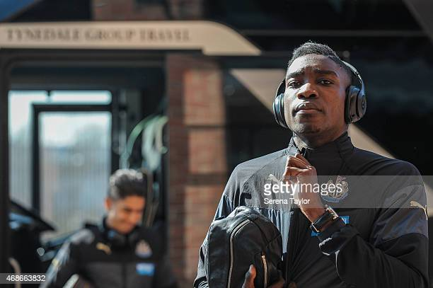 Newcastle's Sammy Ameobi walks off the bus prior to the Barclays Premier League match between Sunderland FC and Newcastle United at The Stadium of...