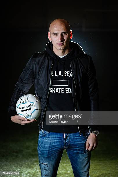 Newcastle's second January signing Jonjo Shelvey poses for photographs holding a Newcastle football at The Newcastle United Training Centre on...