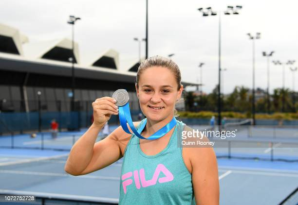 Newcombe Medal winner Ashleigh Barty of Australia poses during a 2018 Newcombe Medal Media Opportunity at the National Tennis Centre on November 27...