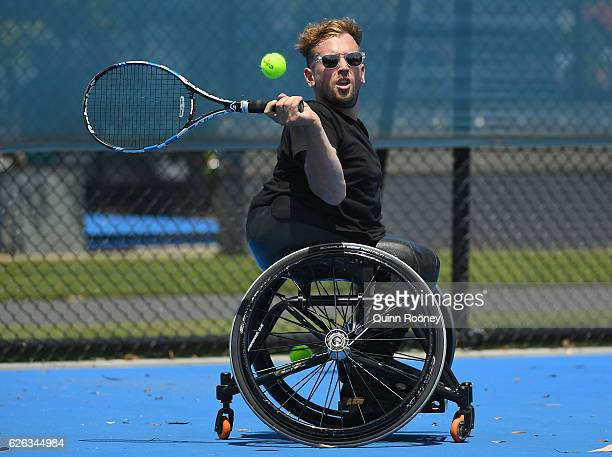 Newcombe medal winner Dylan Alcott has a hit of tennis during a media opportunity at Melbourne Park on November 29 2016 in Melbourne Australia
