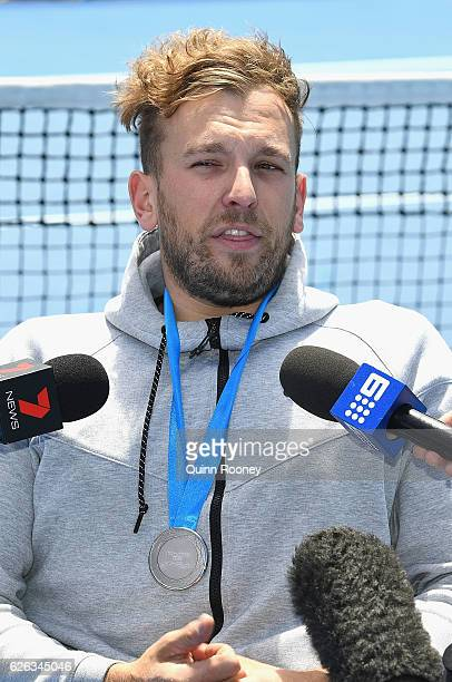 Newcombe medal winner Dylan Alcott speaks to the media during a media opportunity at Melbourne Park on November 29 2016 in Melbourne Australia