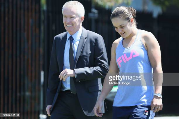 Newcombe Medallist Ashleigh Barty arrives with Tennis Australia CEO Craig Tiley at Melbourne Park on November 28 2017 in Melbourne Australia Barty's...