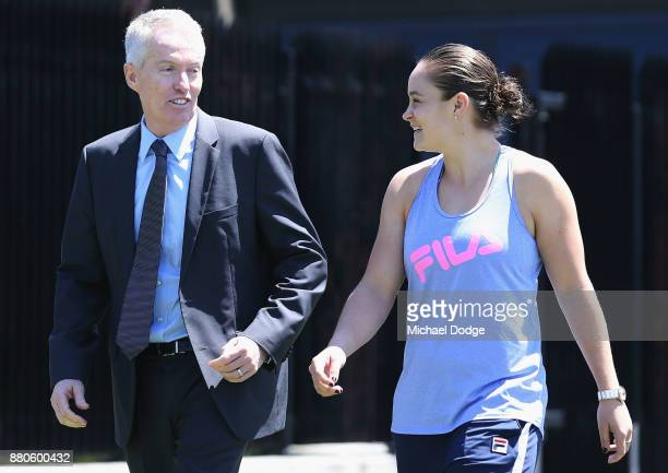 Newcombe Medallist Ashleigh Barty rrives with Tennis Australia CEO Craig Tiley at Melbourne Park on November 28 2017 in Melbourne Australia Barty's...