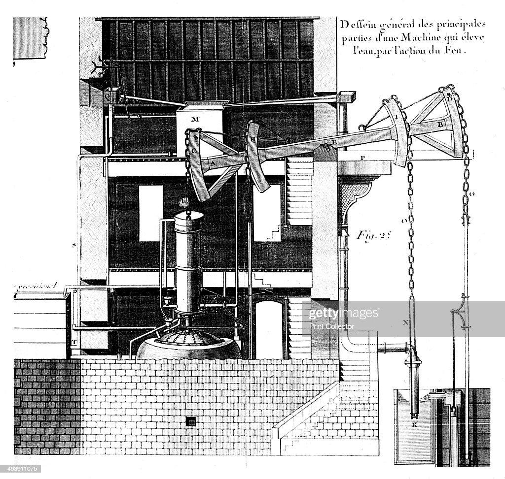 Newcomen Steam Engine 1737 Thomas Designed His Diagram Of News Photo