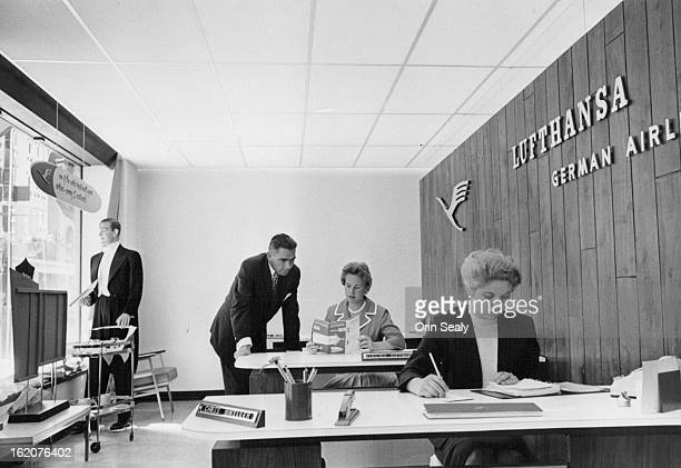 JUL 2 1961 Newest addition to Denver's 17th St 'airline row' is the regional office of Lufthansa German Airlines located in the Albany Hotel Shown...