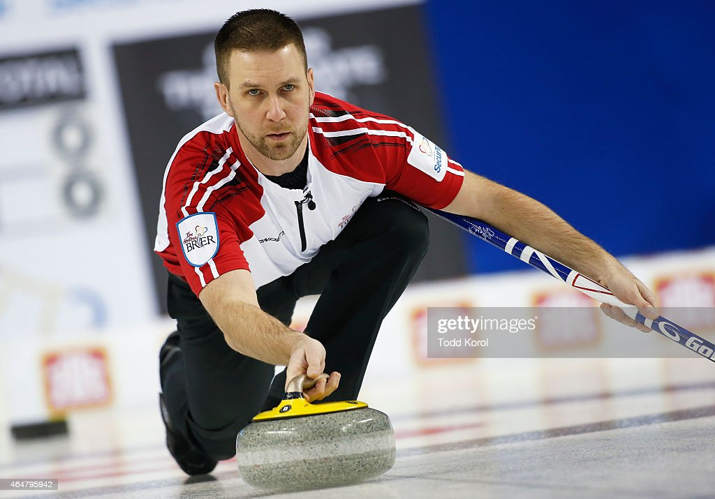 Newfoundland and Labrador skip Brad Gushue delivers his shot in his game against Saskatchewan during the Tim Horton's Brier at the Scotiabank Saddledome on February 28, 2015 in Calgary, Alberta, Canada.