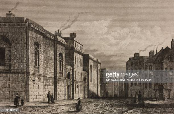 Newgate Prison London England United Kingdom engraving by Lemaitre from Angleterre Ecosse et Irlande Volume IV by Leon Galibert and Clement Pelle...