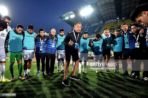 Newin Chidchob Club President of Buriram United speaks during the Asian Champions League match between Seongnam FC and Buriram United at Tancheon...