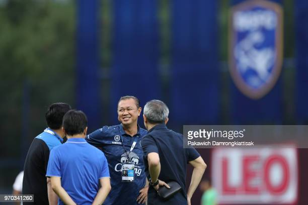 Newin Chidchob in action prior to the Thai League 1 match between Bangkok Glass FC and Buriram United at LEO Stadium on June 9, 2018 in Pathum Thani,...