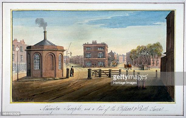 Newington Turnpike on Newington Causeway Southwark London 1825 View with the Elephant and Castle Inn beyond