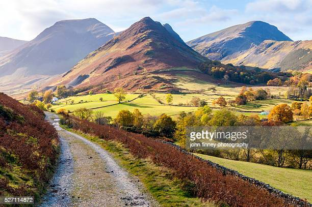 newlands valley in autumn. lake district national park. uk. - cumbria stock pictures, royalty-free photos & images