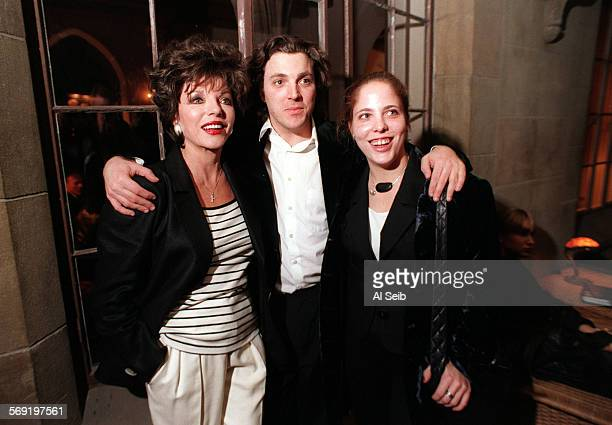 LSNewley10130ASb Hollywood CA Sacha Newley with his famous mother Joan Collins and sister Katy Kass at a cocktail reception in the Chateau Marmont...