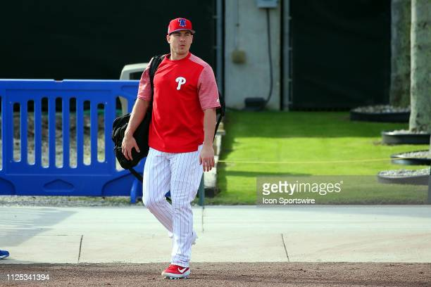 Newly acquired J T Realmuto walks out onto the field before the Philadelphia Phillies spring training workout on February 16 2019 at the Carpenter...