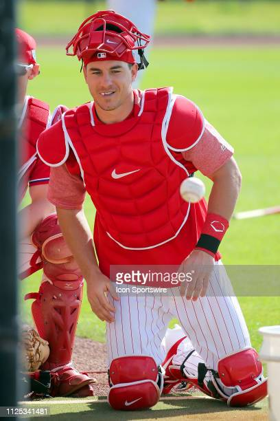 Newly acquired J T Realmuto watches a teammate go thru a drill during the Philadelphia Phillies spring training workout on February 16 2019 at the...