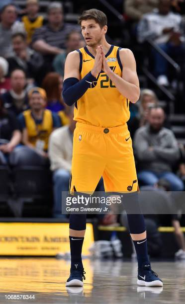 Newly acquired Kyle Korver of the Utah Jazz looks on against the San Antonio Spurs in the first half of a NBA game at Vivint Smart Home Arena on...