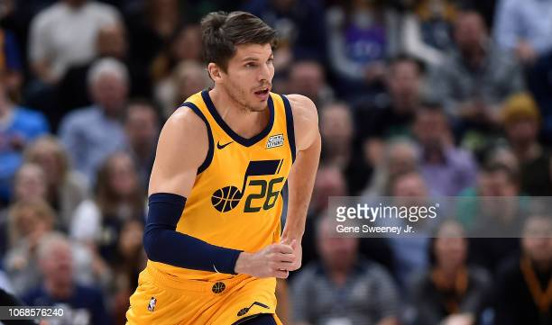 Newly acquired Kyle Korver of the Utah Jazz runs up court against the San Antonio Spurs in the first half of a NBA game at Vivint Smart Home Arena on...